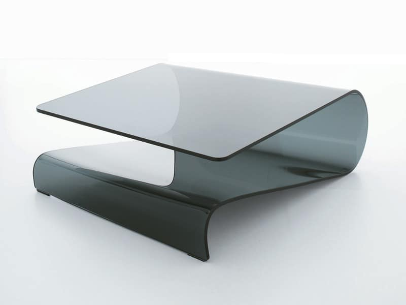 Couchtisch aus gebogenem Glas, für Wohnzimmer oder Empfang