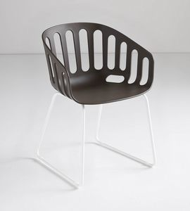 Basket Chair ST, Sessel mit Kufengestell aus Technopolymer