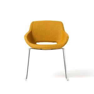 Clea Plus Schlitten Basis, Gepolsterter Sessel, mit Kofferraum, für Büro und Vertrag