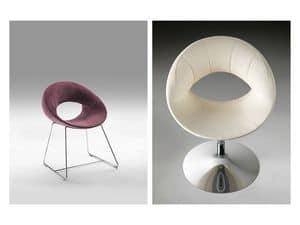 Elixir, Sessel mit Metallstruktur, Schlitten oder Säulenbasis
