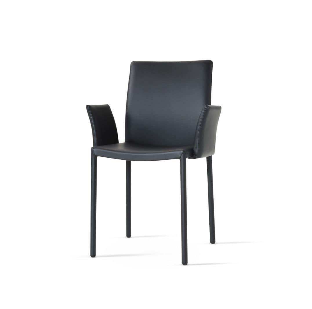 Stuhl aus leder mit hoher r ckenlehne bedeckt idfdesign for Design stuhl leder metall