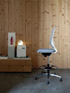Logica White Stool 01, Weißer Hocker für elegante Büros