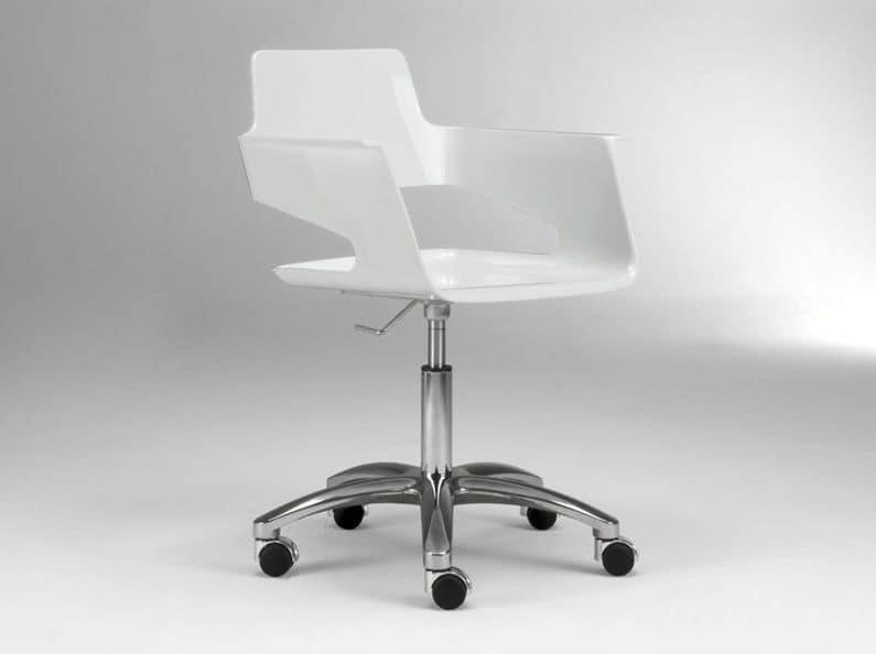 b rostuhl auf rollen gl nzende nylon sitz und r cken. Black Bedroom Furniture Sets. Home Design Ideas