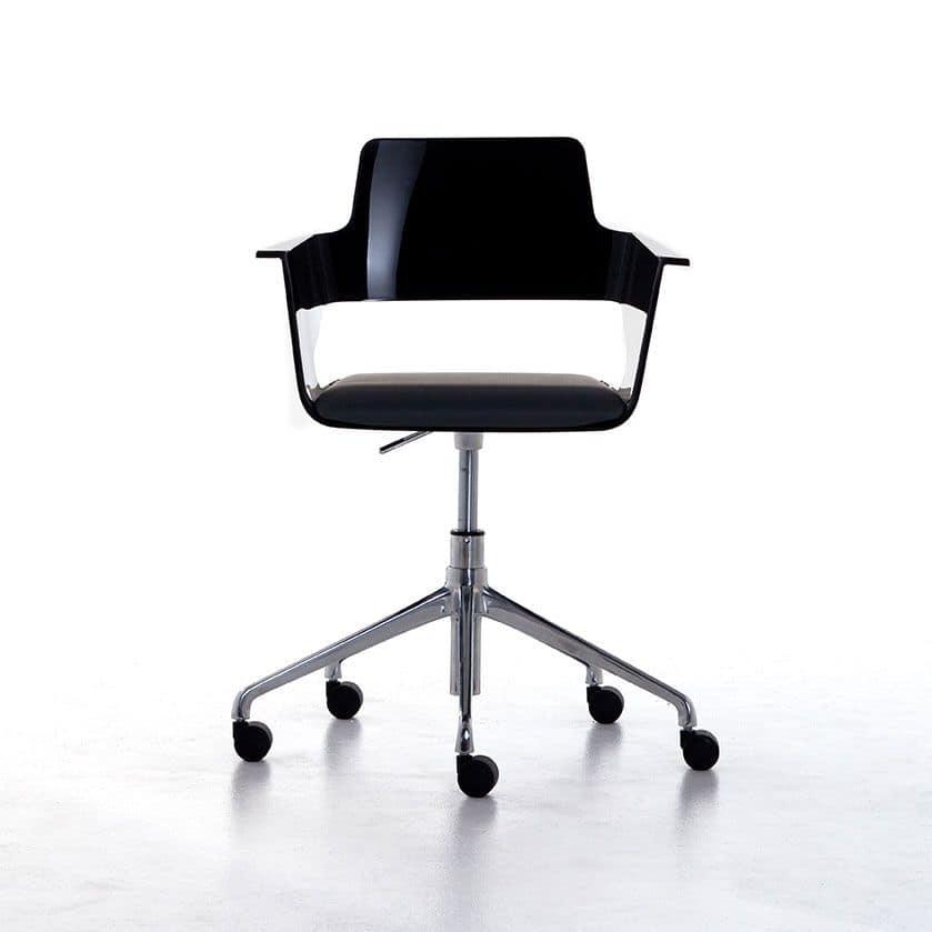 Bürostuhl auf Rollen, glänzende Nylon Sitz und Rücken, schwenk- und ...