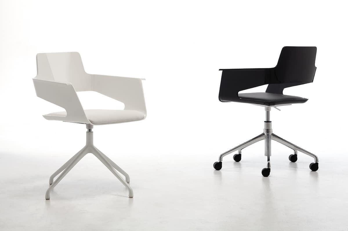 B32 office PRO, Bürostuhl auf Rollen, glänzende Nylon Sitz und Rücken, schwenk- und höhenverstellbar