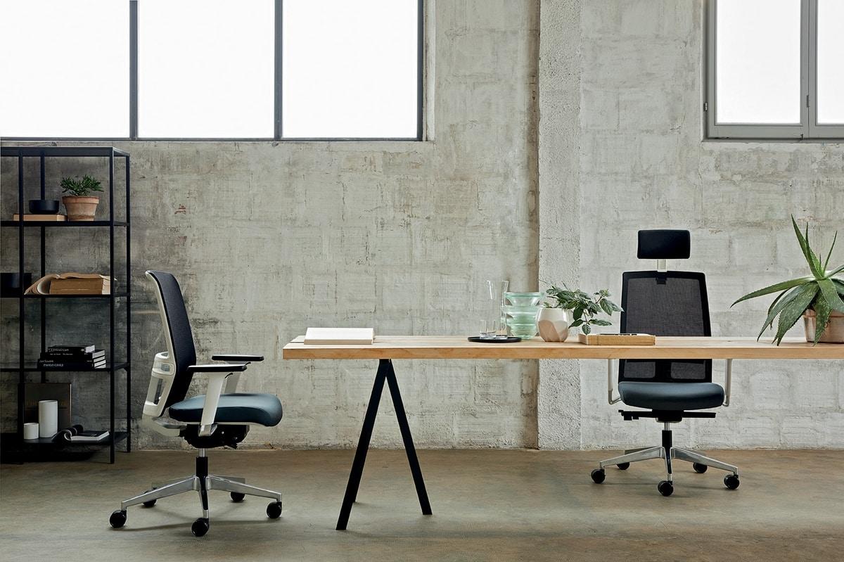 Omnia White 01 PT, Bürostuhl mit eleganter weißer Struktur