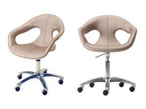Sunny fabric HO, Polsterstuhl, Metallgestell auf Rollen, für Home-Office- Einsatz