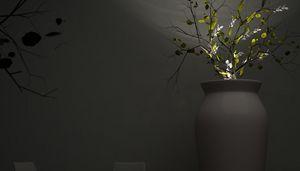 June, Vase im Freien mit Beleuchtungssystem