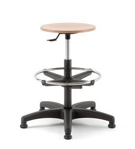 Mea Wood 03, Hocker mit runder Sitzfläche, drehbar