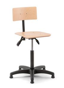 Rumba 02, Drehhocker mit Sitz und Rückenlehne aus Holz
