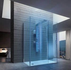 Bristol Box 7, Duschabtrennung mit glänzenden Stahlsäule, für Resort