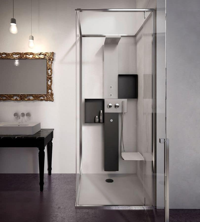 hammam dusche mit tafel aus lackiertem edelstahl mit schwenkt r idfdesign. Black Bedroom Furniture Sets. Home Design Ideas