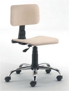 UF 349 - UF 349 Sgabello, Bürostuhl Basis, Sitz und Rückenlehne in Buche