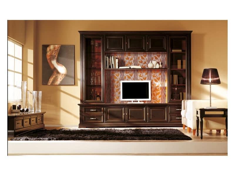 Ausgestattet wand aus massivem holz klassischen stil idfdesign - Einrichtung aus italien klassischen stil ...