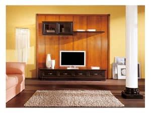Artikel 108/L, Niedriger Schrank mit Kleiderbügeln für Wohnräume, im klassischen Stil
