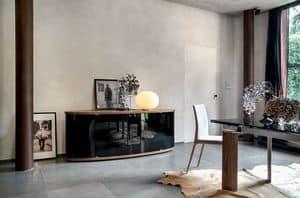 ASIA, Sideboard aus Holz mit gebogenen Glastüren für das Esszimmer oder Wohnzimmer geeignet