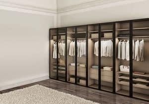 ATLANTE WIND comp.02, Moderne Kleiderschrank für Schlafzimmer, mit Glastüren