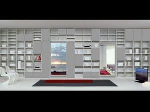 Tag Bibliothek 15, Modulare Möbel mit wesentlichen Formen, für Aufenthalte