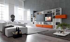 Citylife 34, Bücherregal mit TV-Ständer ideal für moderne Wohnräume