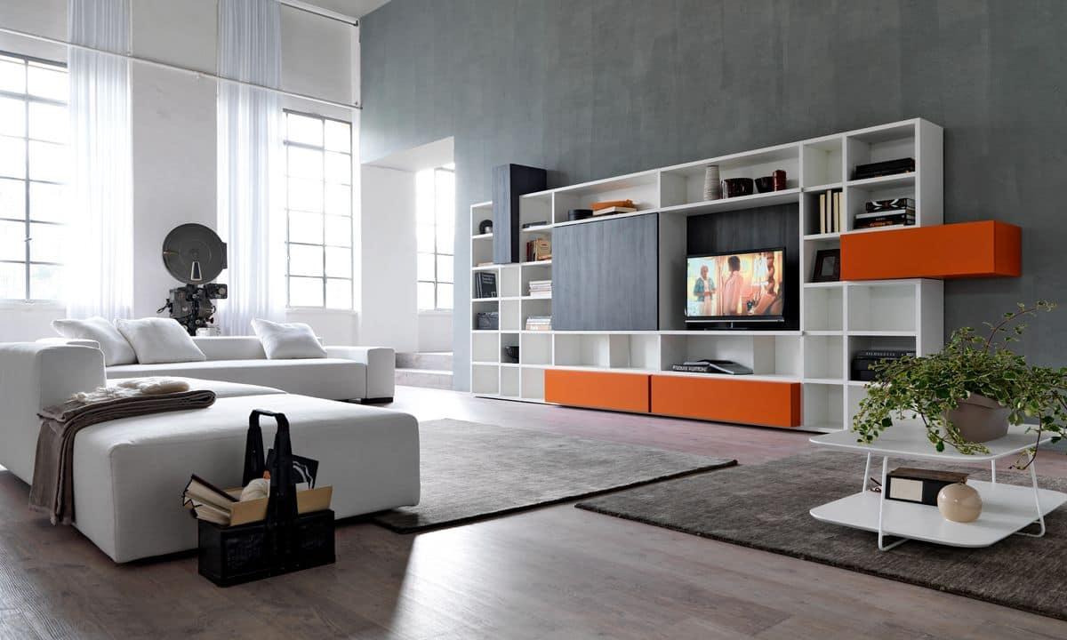 Bücherregal mit TV-Ständer ideal für moderne Wohnräume | IDFdesign