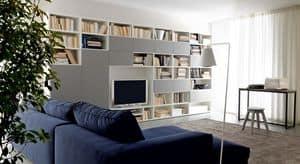 Citylife 38, Moderne Zusammensetzung für Wohnzimmer, mit Bücherregalen