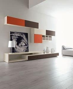 Citylife 43, Moderne Komposition für Wohnzimmer, mit Wandeinheiten