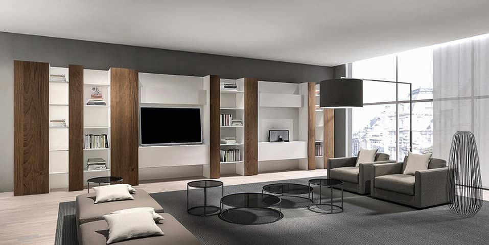 moderne bibliothek f r wohnzimmer mit handy tv und regale idfdesign. Black Bedroom Furniture Sets. Home Design Ideas
