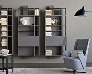 Contatto comp.02, Möbel Zusammensetzung für Wohnzimmer, mit Regalen und Vorhängen