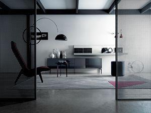 COVER GLASS 208, Sideboard aus Holz und Glas mit Lederschubladen