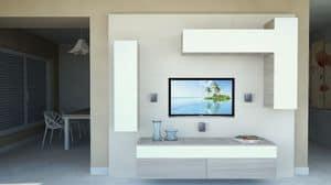 DayWall 102, Wohnzimmermöbel mit Hängeschränke in weiß lackiert