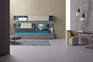 E-Wall, Wohnzimmermöbel System, Modulregal aus Holz