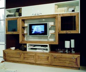 Elios 118, Wohnzimmermöbel, in Nussbaum und Weiß lackiert