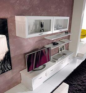 Exclusive ausgestattetes Wandsystem, Modulares Möbelstück für Wohnzimmer, in weißem Holz