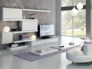 Giorno Sistemi 12, System der modularen Möbel, mit unterschiedlichen Oberflächen