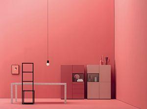 GRAPHOS GLASS 204, Wohnzimmermöbel mit Schubladen und Glastüren