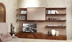 LB33 Desyo, Wohnzimmermöbel mit TV-Ständer im zeitgenössischen Stil