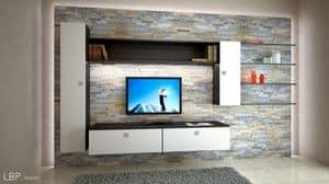 Milano L10, Wohnzimmermöbel mit Hängeschränken, auffallende LED-Leuchten