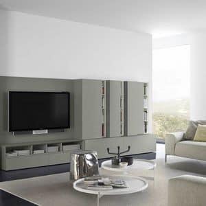 People P212, Modulares System für Wohnzimmer, aus lackiertem Holz