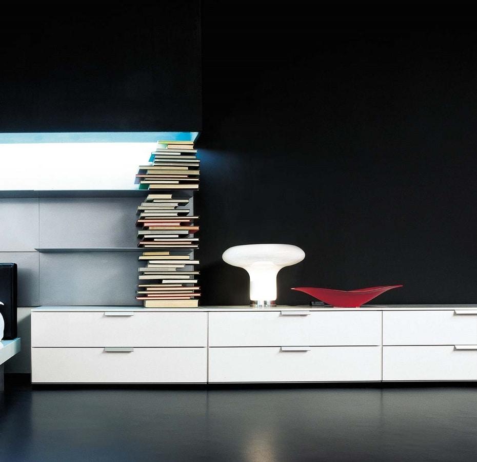 Niedriger Schrank mit 4 Schubladen mit Rädern, für Zuhause | IDFdesign