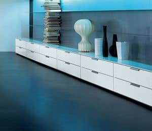 PRISMA comp.05, Niedriger Schrank mit Schubladen für das Wohnzimmer, hohe Qualität