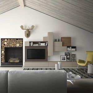 Spazio S314, Wandsystem für TV, mit Lautsprechern