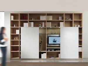 Tag-Bibliothek 01, Modularer Aufbau mit Bücherregal und TV-Ständer, 2 Schiebetüren