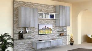 Top Milano, Wohnzimmermöbel, mit Stein verkleideten Wand
