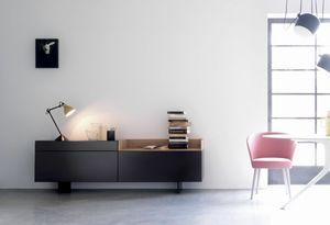 TRAY 203, Wohnzimmermöbel in mattschwarz lackiert