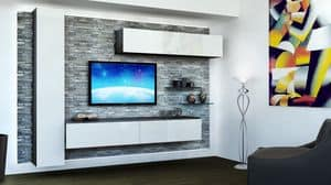 Venezia 10, Möbel für Wohnzimmer, mit Rock-Verkleidung, weiß lackiert Hängeschränke