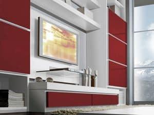 Wand Tag 03, Möbelsystem für das Wohnzimmer, verschiedene Ausführungen