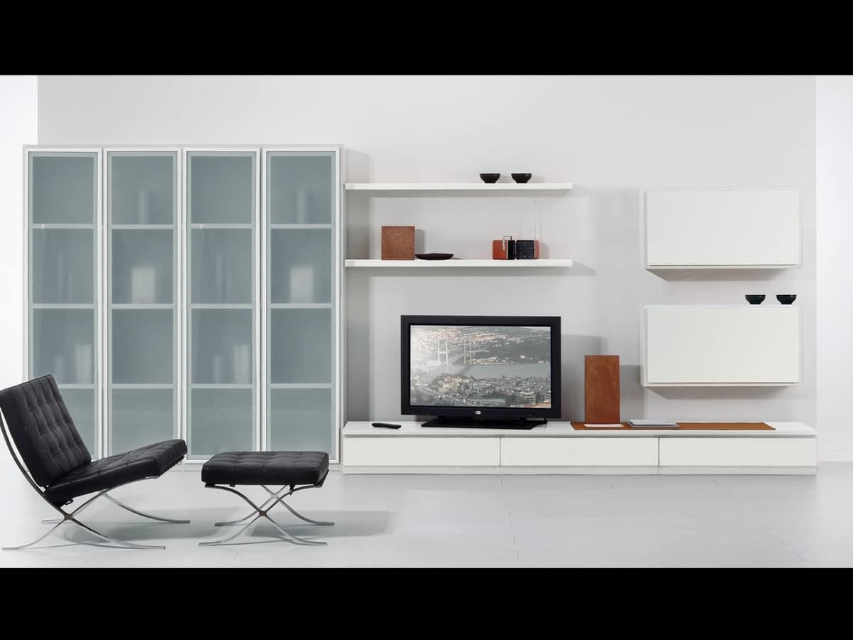 reihe von m beln f r wohnzimmer mit fenstern und regale idfdesign. Black Bedroom Furniture Sets. Home Design Ideas