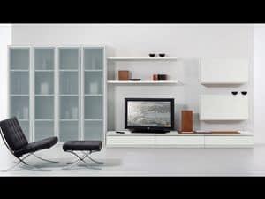 Wand Tag 05, Reihe von Möbeln für Wohnzimmer, mit Fenstern und Regale