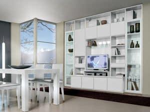 Wand Tag 10, Baukastensystem für Wohn- und Esszimmer, mit TV-Ständer
