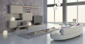 Wohnzimmer 24, Modulare Möbel für Wohnzimmer, modernes Design, anpassbare Oberflächen und Elemente